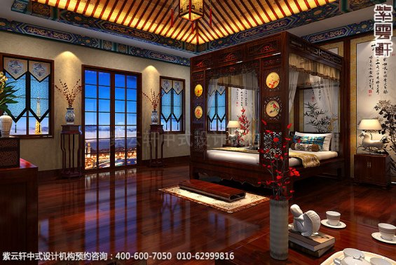 长沙豪宅别墅古典中式装修,主卧室装修设计效果图