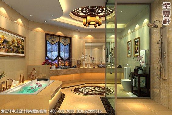长沙豪宅别墅古典中式装修,卫生间装修设计效果图