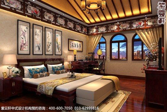 长沙豪宅别墅古典中式装修,老人房中式装修设计效果图