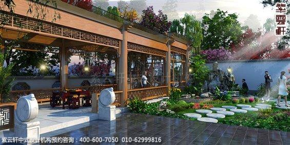 长沙豪宅别墅古典中式装修,庭院外观装修设计效果图