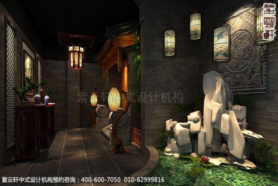 辽宁营口古典中式装修私人会所效果图,门厅中式装修效果图