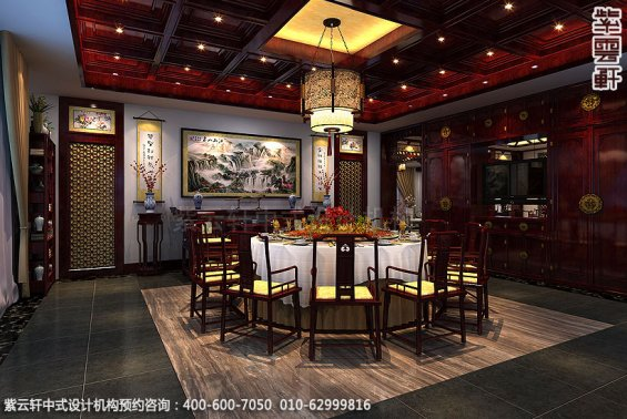 辽宁营口古典中式装修私人会所效果图,餐厅包间中式装修效果图