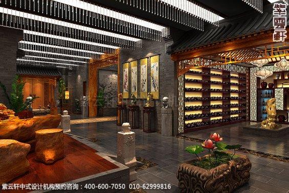 辽宁营口古典中式装修私人会所效果图,过厅区中式装修效果图