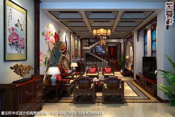 精品住宅-北京方庄复式楼-客厅中式装修效果图