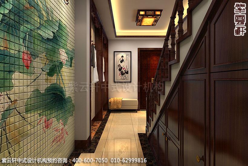 精品住宅-北京方庄复式楼-楼梯过道中式装修效果图