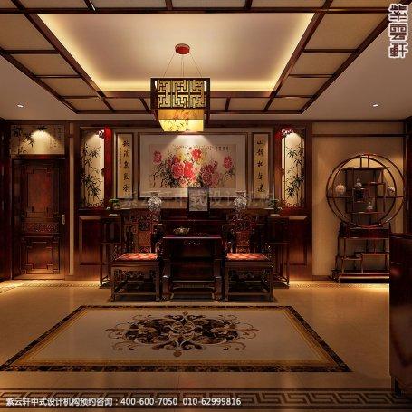 精品住宅-北京西山大宅设计-门厅中式装修效果图