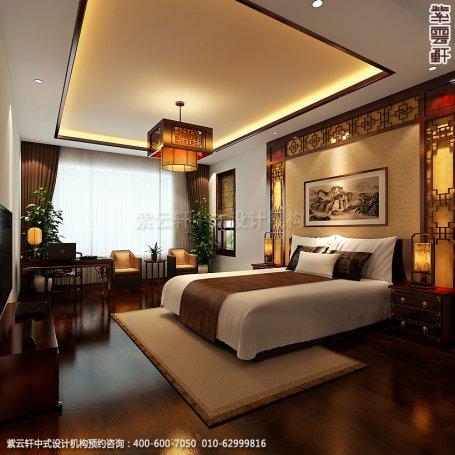 精品住宅-北京西山大宅设计-主卧中式装修效果图