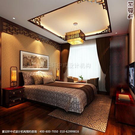 精品住宅-北京西山大宅设计-老人房中式装修效果图