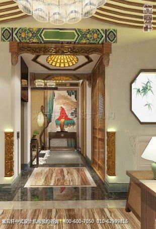 会所装修-上海中医养生会馆儒雅空间-过道中式装修效果图