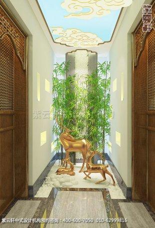 会所装修-上海中医养生会馆儒雅空间-二层过道中式装修效果图