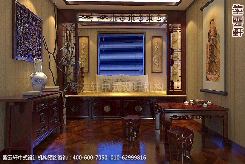 精品住宅,刘宅禅意空间设计,禅修室中式装修效果图