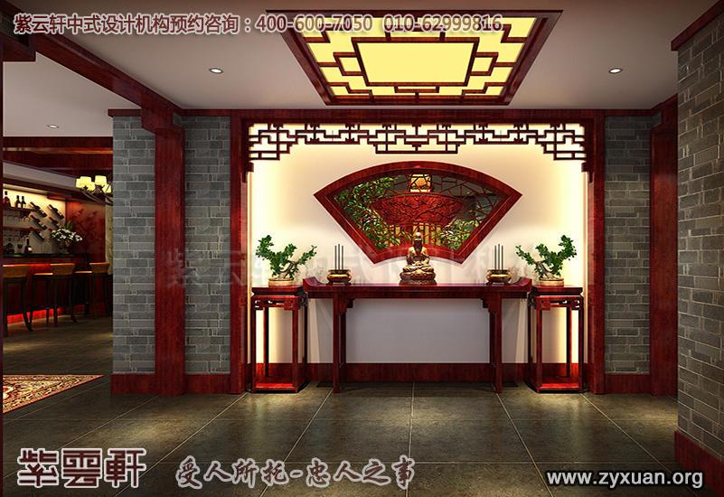 北京茶楼古典中式设计案例,私人茶园门厅中式装修效果图
