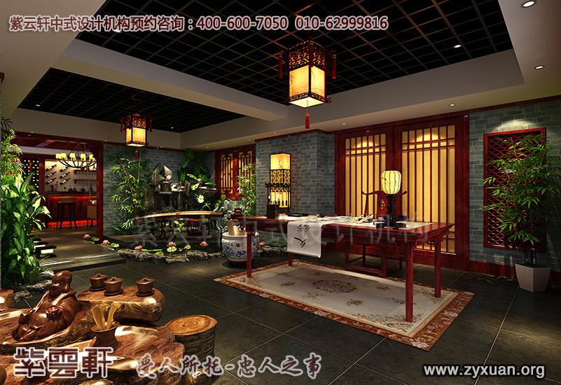 北京茶楼中式设计案例,私人茶园中式装修效果图