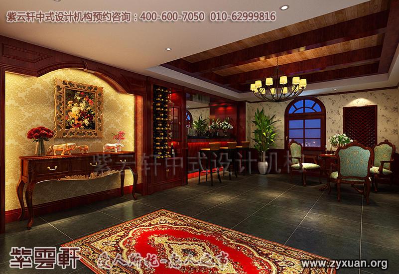 北京茶楼古典中式设计案例,茶园存酒区中式装修效果图