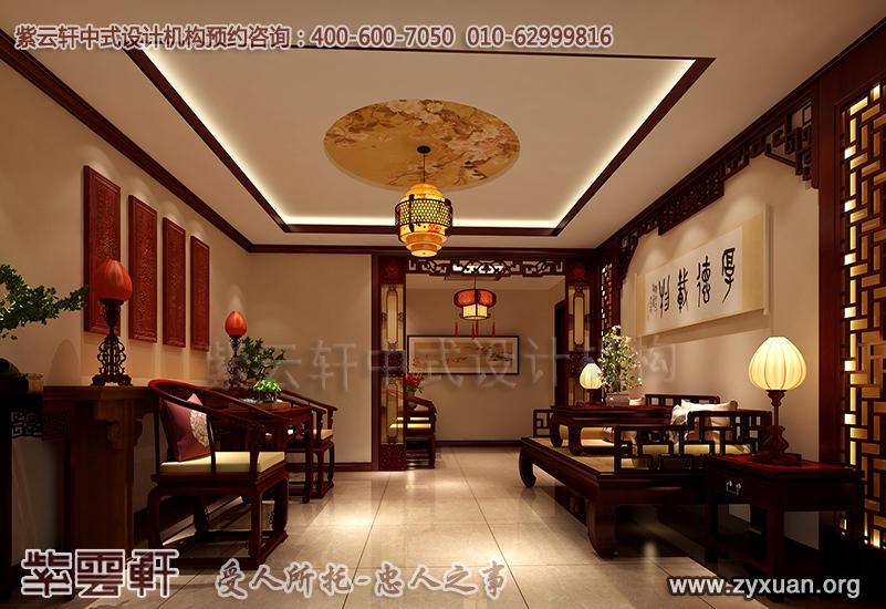 平层住宅古典中式设计案例,住宅门厅中式装修效果图