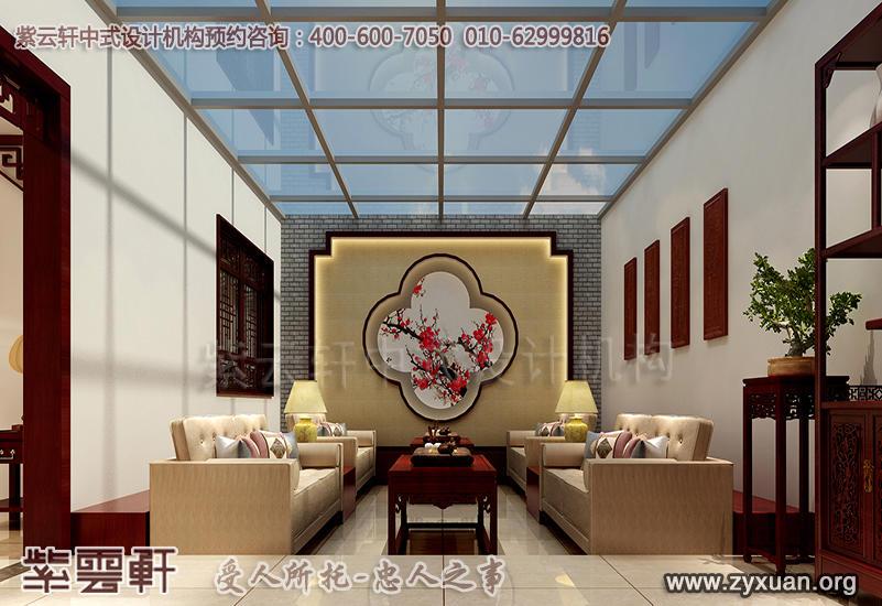 平层住宅古典中式设计案例,休闲阳台中式装修效果图