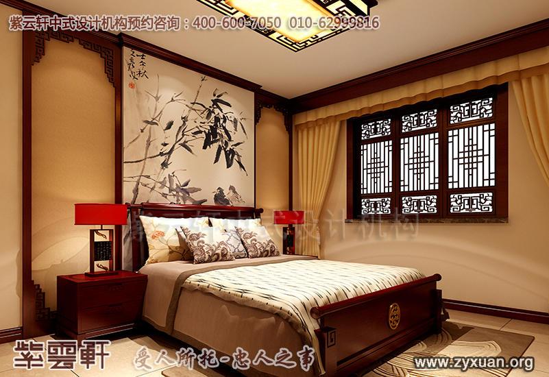 平层住宅古典中式设计案例,次卧中式装修效果图
