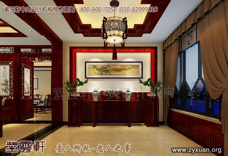 蓟县恒大别墅现代中式设计案例,别墅门厅中式装修效果图