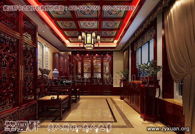 蓟县恒大别墅现代中式设计案例,别墅中堂中式装修效果图