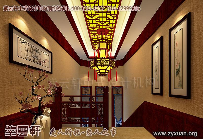 天津蓟县别墅现代中式设计案例,别墅走廊中式装修效果图