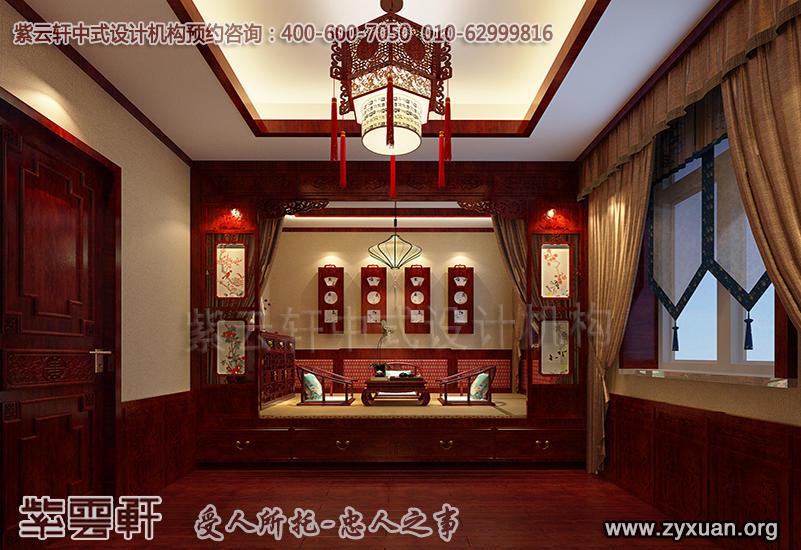 天津蓟县别墅现代中式设计案例,别墅暖阁中式装修效果图
