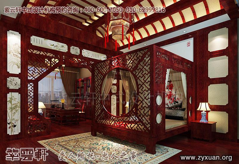 天津蓟县别墅现代中式设计案例,别墅主卧中式装修效果图