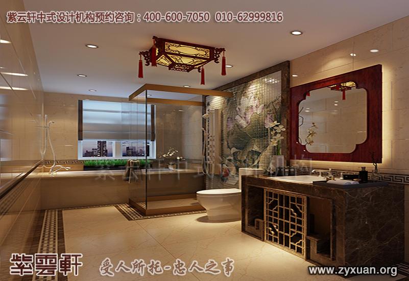 天津别墅现代中式设计案例,别墅卫生间中式装修效果图