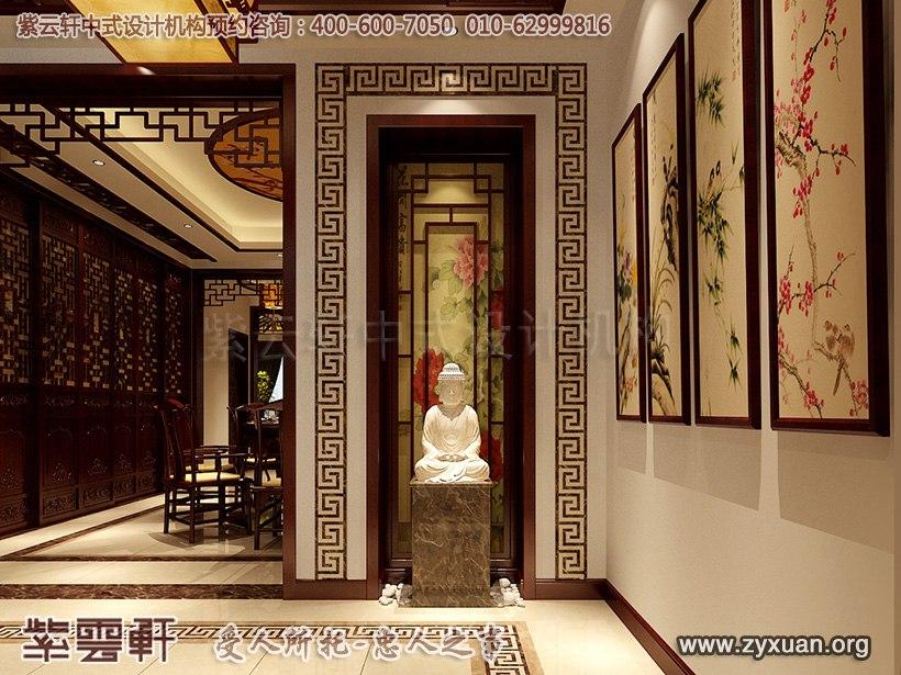 日照复式楼简约中式设计案例,玄关中式装修效果图