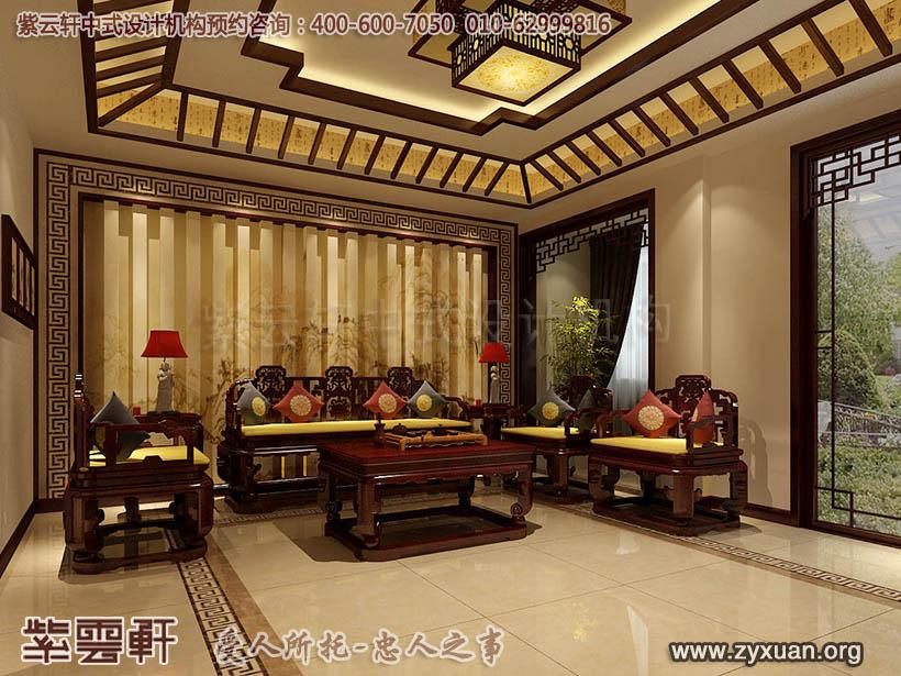 日照复式楼简约中式设计案例,客厅中式装修效果图