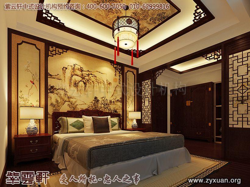 日照复式楼简约中式设计案例,卧室中式装修效果图
