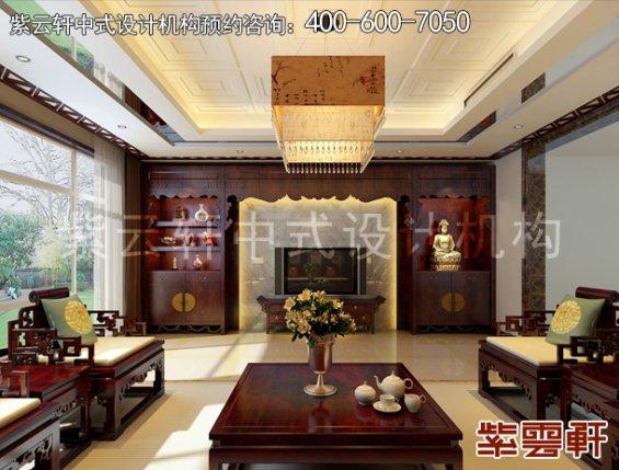 北京褐石园别墅中式设计案例,客厅中式装修效果图