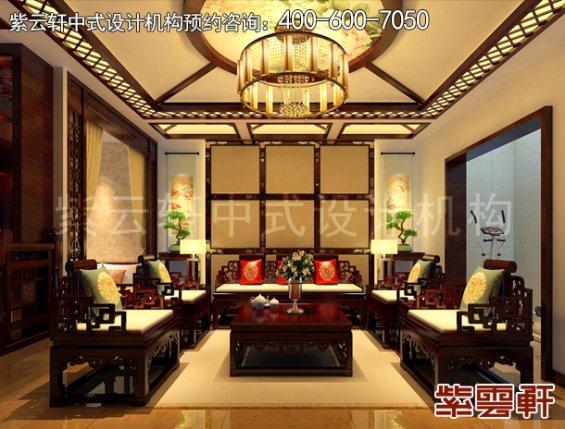 北京褐石园现代中式别墅装修案例,休闲室中式装修效果图