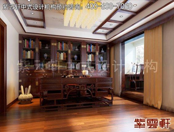 北京褐石园现代中式别墅装修案例,卧室书房中式装修效果图