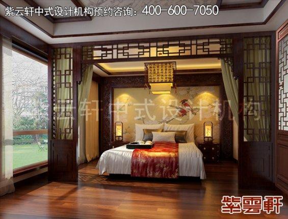 北京褐石园现代中式别墅装修,卧室中式装修效果图