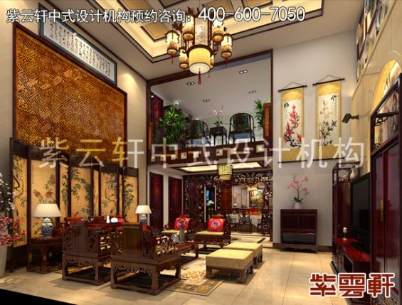 保定新中式风格设计复式住宅,客厅中式装修效果图