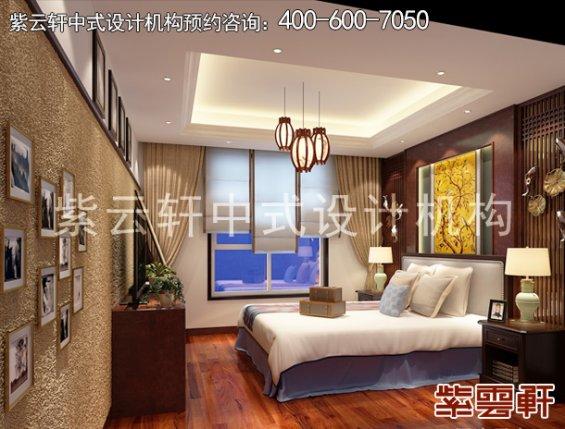 保定新中式风格设计复式住宅,卧室中式装修效果图