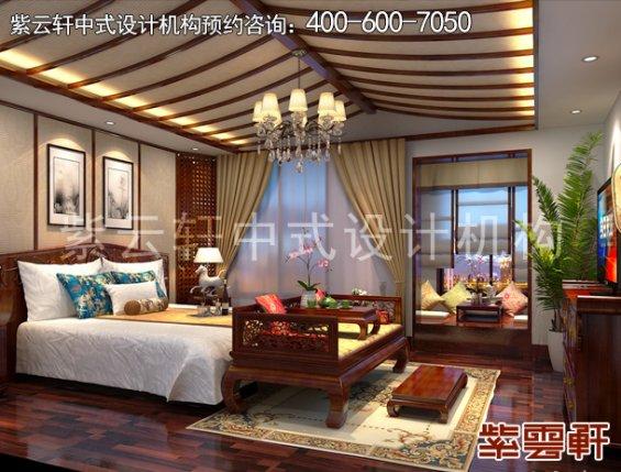保定新中式风格设计复式住宅,主卧中式装修效果图