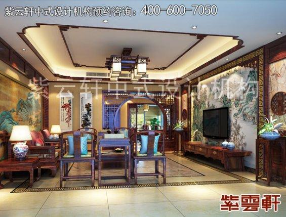 成都复式楼简约中式设计案例,客厅中式装修效果图