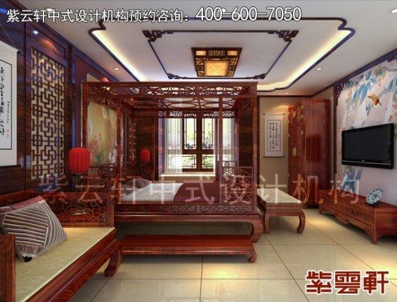 成都复式楼简约中式设计案例,卧室中式装修效果图