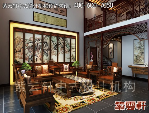 鄂尔多斯复式楼古典中式装修案例,客厅中式装修效果图