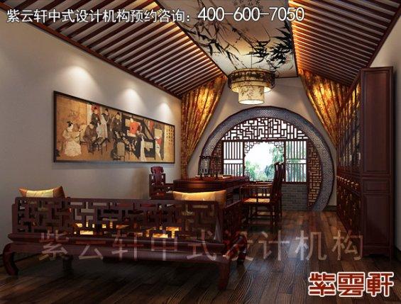 鄂尔多斯复式楼古典中式装修案例,书房中式装修效果图