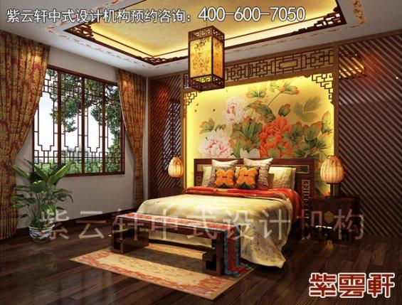 鄂尔多斯复式楼古典中式装修案例,卧室中式装修效果图