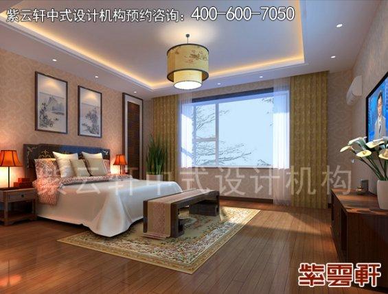 领袖硅谷复式楼现代中式装修案例,卧室中式设计效果图