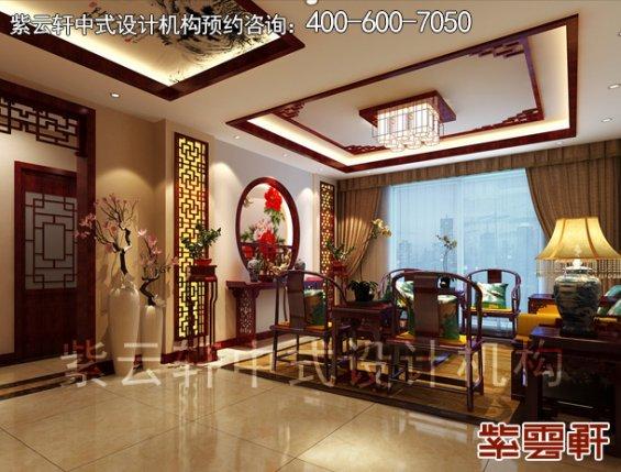 于家务陈姐复式楼简约中式装修案例,客厅中式设计效果图
