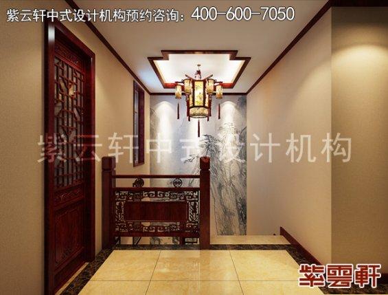 于家务陈姐复式楼简约中式装修案例,楼梯间中式设计效果图