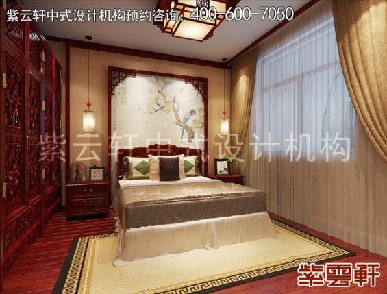 于家务陈姐复式楼简约中式装修案例,卧室中式设计效果图