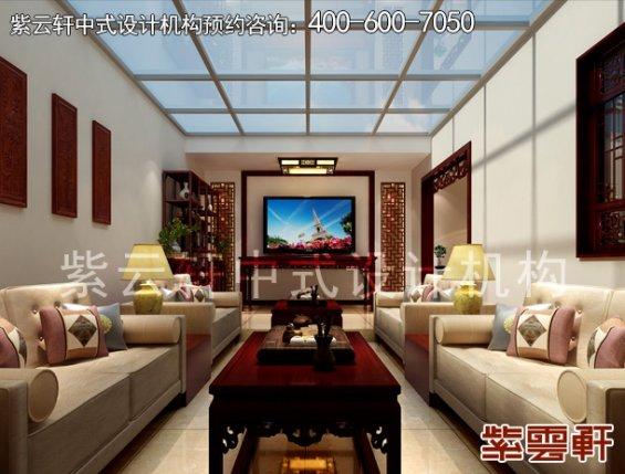 于家务陈姐复式楼简约中式装修案例,休闲室中式设计效果图
