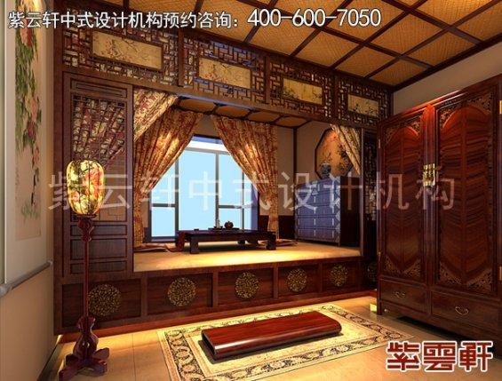 长安山麓复式楼古典中式装修案例,卧室中式设计效果图