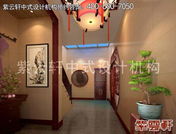 郑州复式楼简约中式装修案例,玄关中式设计效果图