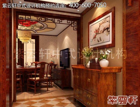 郑州复式楼简约中式装修案例,门厅中式设计效果图